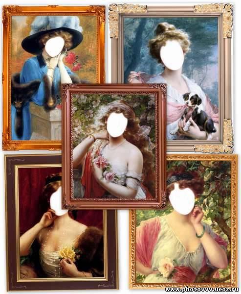 Шаблоны фотошоп старинные женские