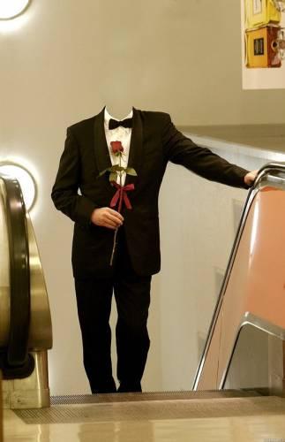 Шаблон фотошоп мужчина с розой